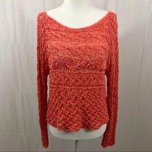 Free People Crochet Sweater, Size Small, Peach